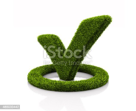 istock Green grassed check mark symbol in the circle on white 485033442