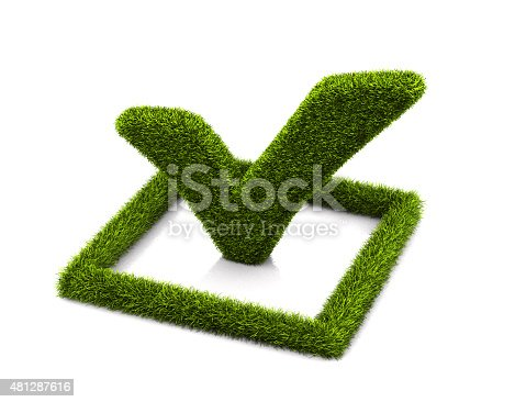 istock Green grassed check mark symbol in the square on white 481287616