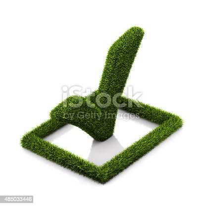 istock Green grassed check mark symbol in the square on white 485033446