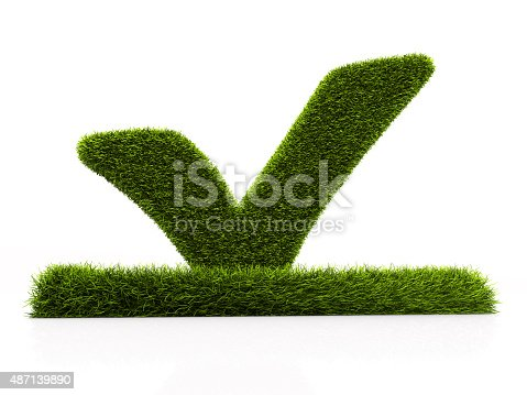 istock Green grassed check mark symbol in the square on white 487139890