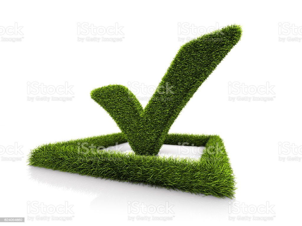 Green Grassed Check Mark Symbol In The Square On White Stock Photo