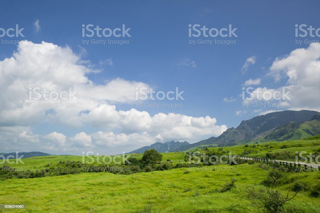 Green grasslands and agriculture stock photo