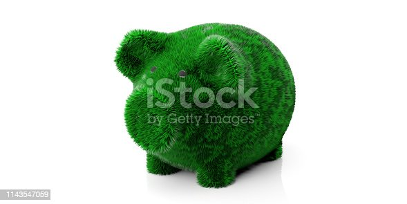 Alternative energy savings concept. Green color grass hair piggy bank isolated cut out against white background, clipping path. 3d illustration