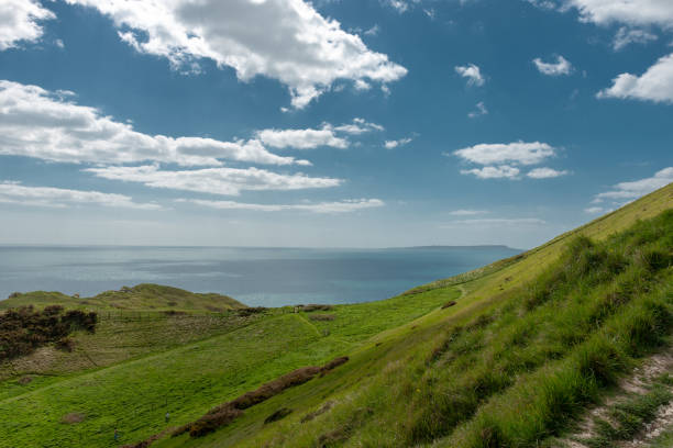 green grassy hills with the bright blue sky and the sea stock photo