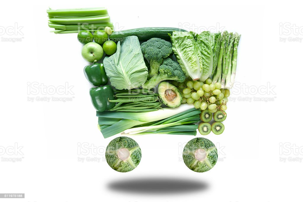 Green grocery shopping cart stock photo