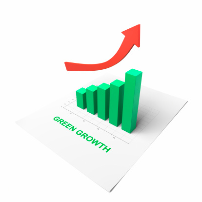 Green bar chart showing decisive growth.You could replace the text with your own message.