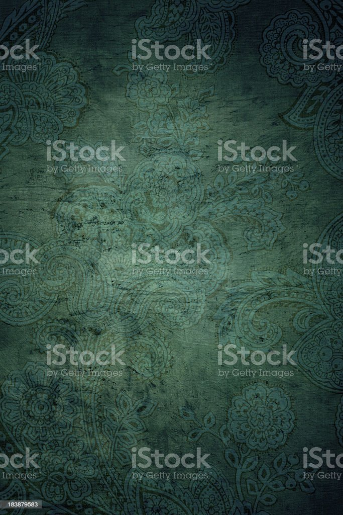 Green Grunge Paisley Background royalty-free stock photo