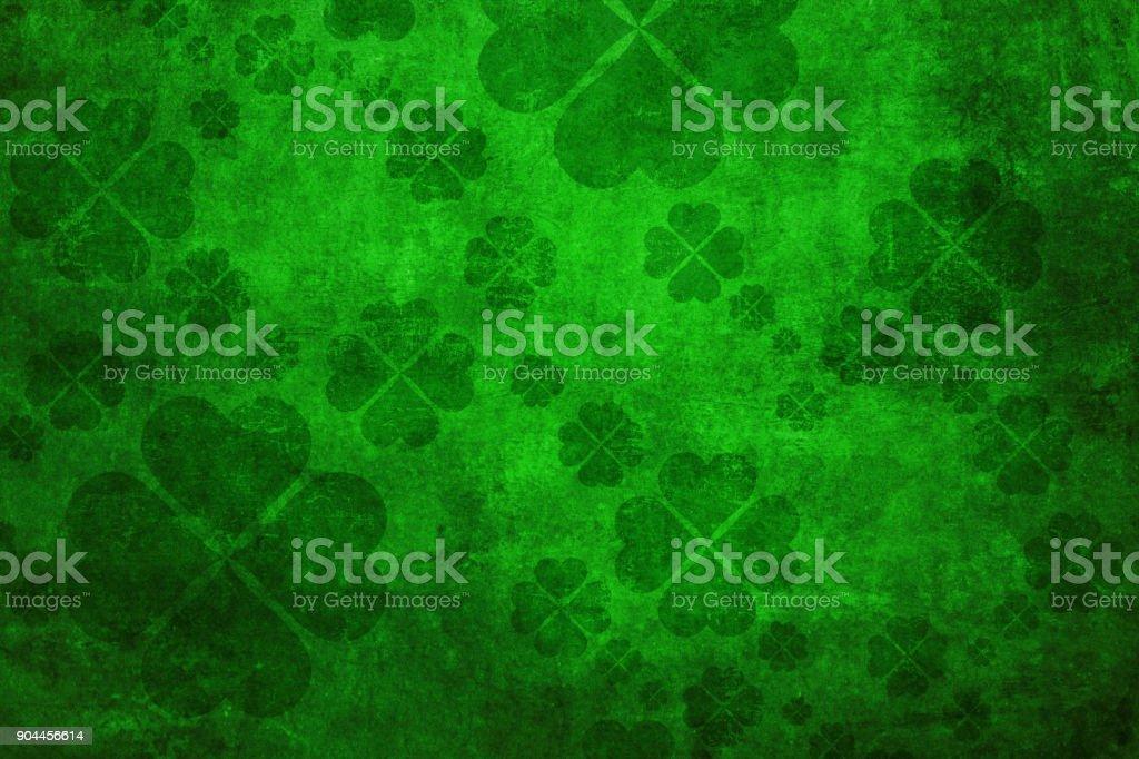Green grunge shamrock background stock photo