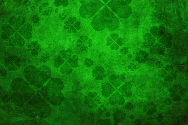 green grunge shamrock background - st patricks day stock photos and pictures