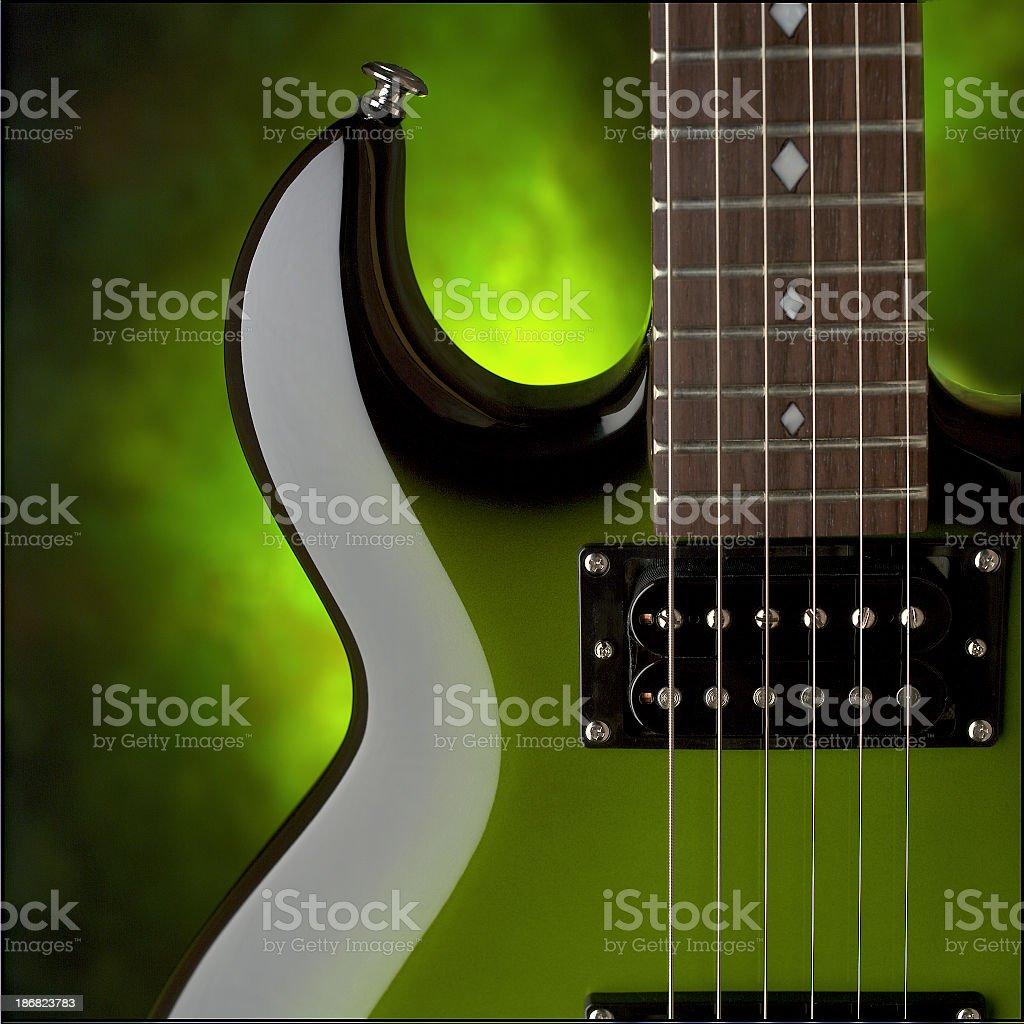 Green Guitar 2 stock photo