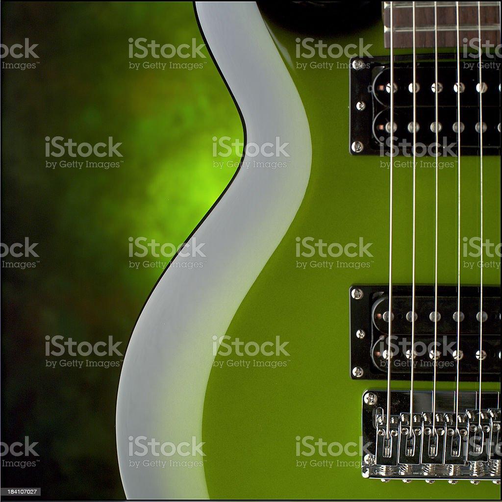Green Guitar stock photo