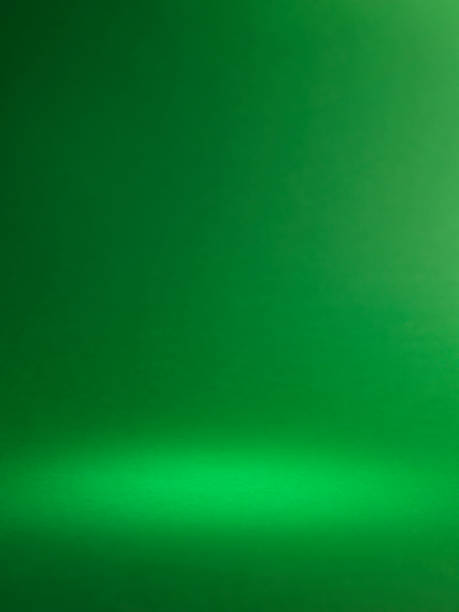 green halo spotlight background copy space - green background stock photos and pictures
