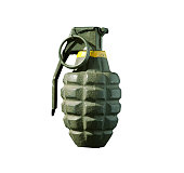 Green hand grenade isolated on white background