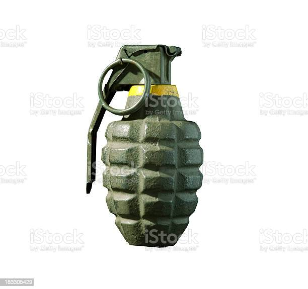 A hand grenade isolated on white.