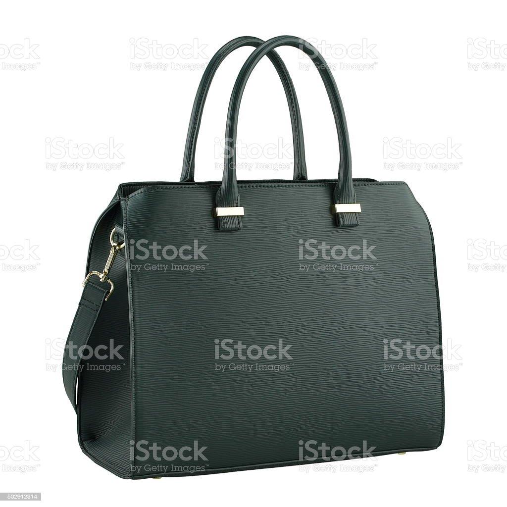 Green handbag on white background stock photo