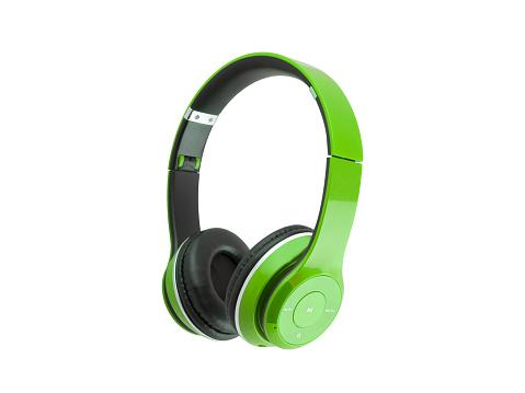 green, headphones, isolated