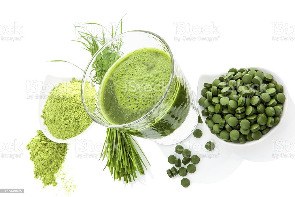 Green healthy superfood. Detox supplements. royalty-free stock photo