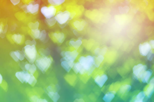 green heart bokeh abstract light background with vintage color tone – Foto
