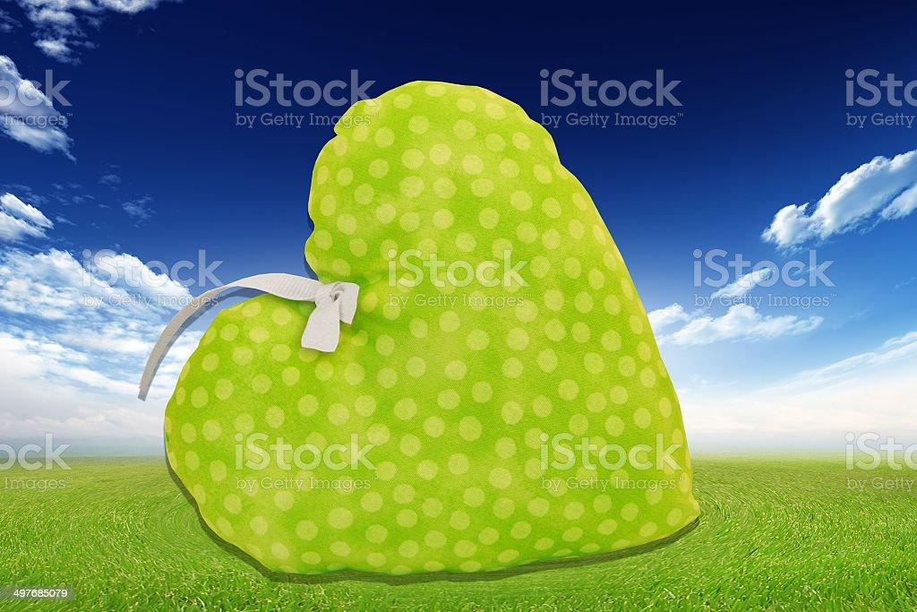 Green heart in the garden stock photo