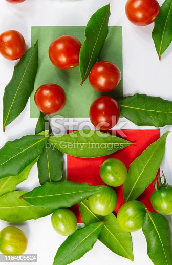 istock Green herb leafs and colorful tomatoes on white background 1184905824
