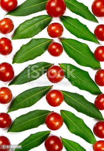 istock Green herb leafs and colorful tomatoes on white background 1184905888