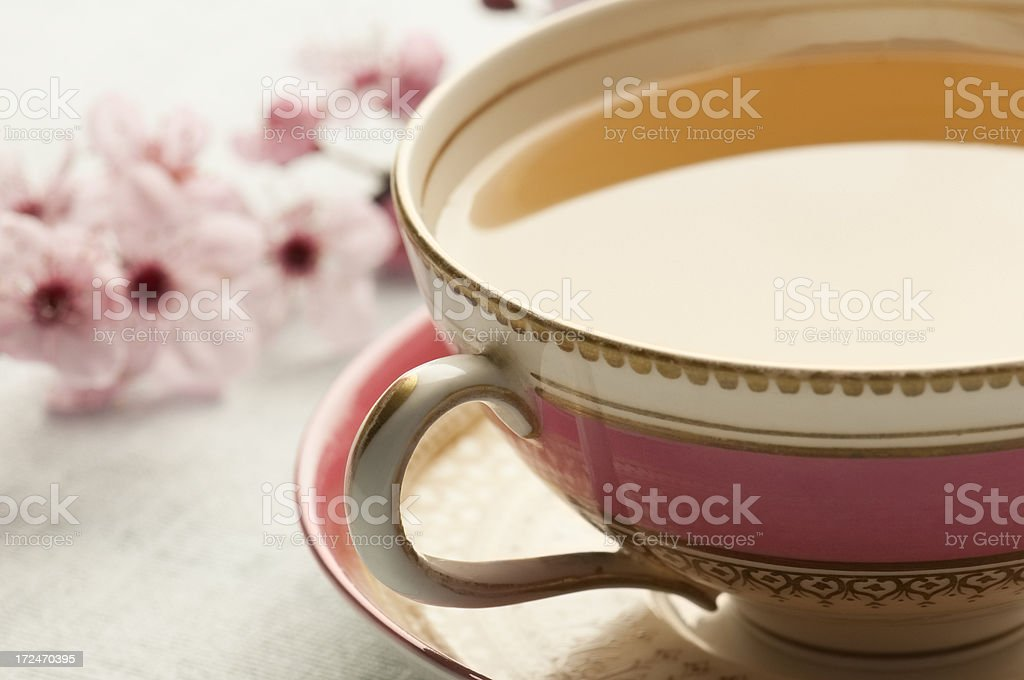 Green herbal tea in fine china cup and saucer stock photo