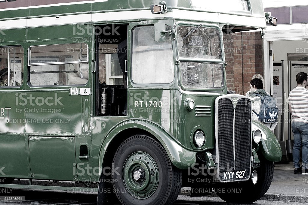 Green Heritage Double Decker Bus stock photo
