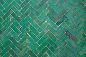 Green herringbone flooring tile texture