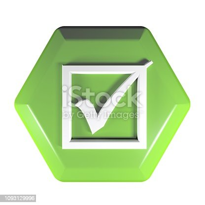 istock Green hexagonal push button with icon of a checked box - 3D rendering illustration 1093129996