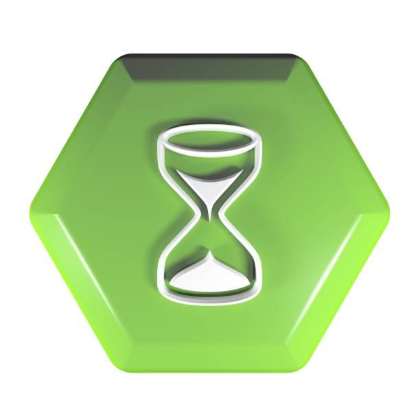groene zeshoekige drukknop met het pictogram van een zandloper - 3d-rendering illustratie - zandloper icoon stockfoto's en -beelden