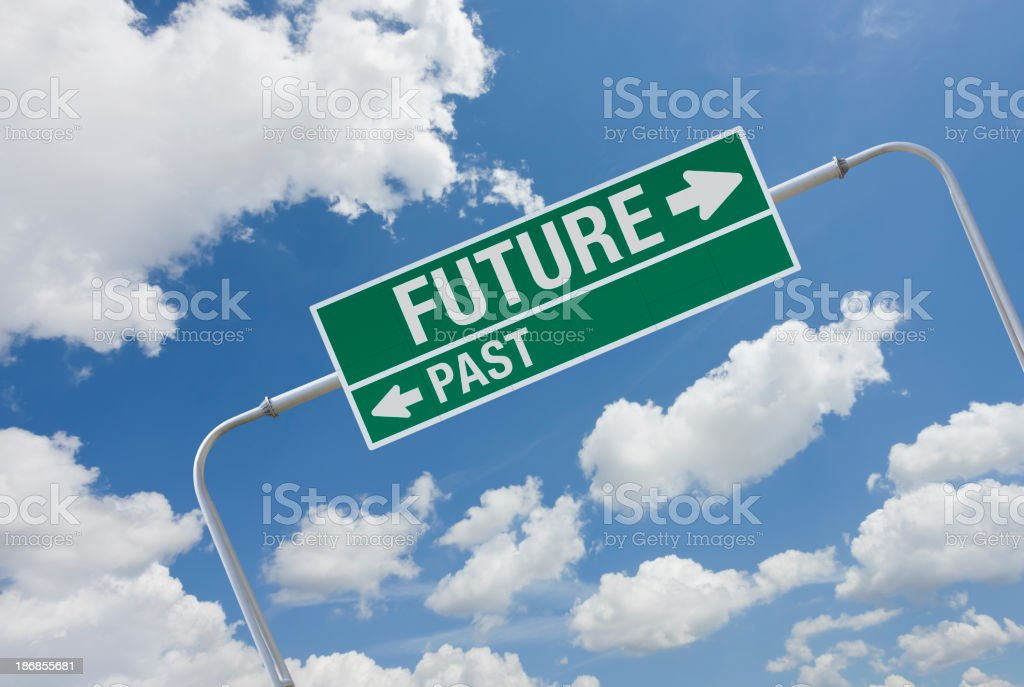 Green highway sign with exit for future and past royalty-free stock photo