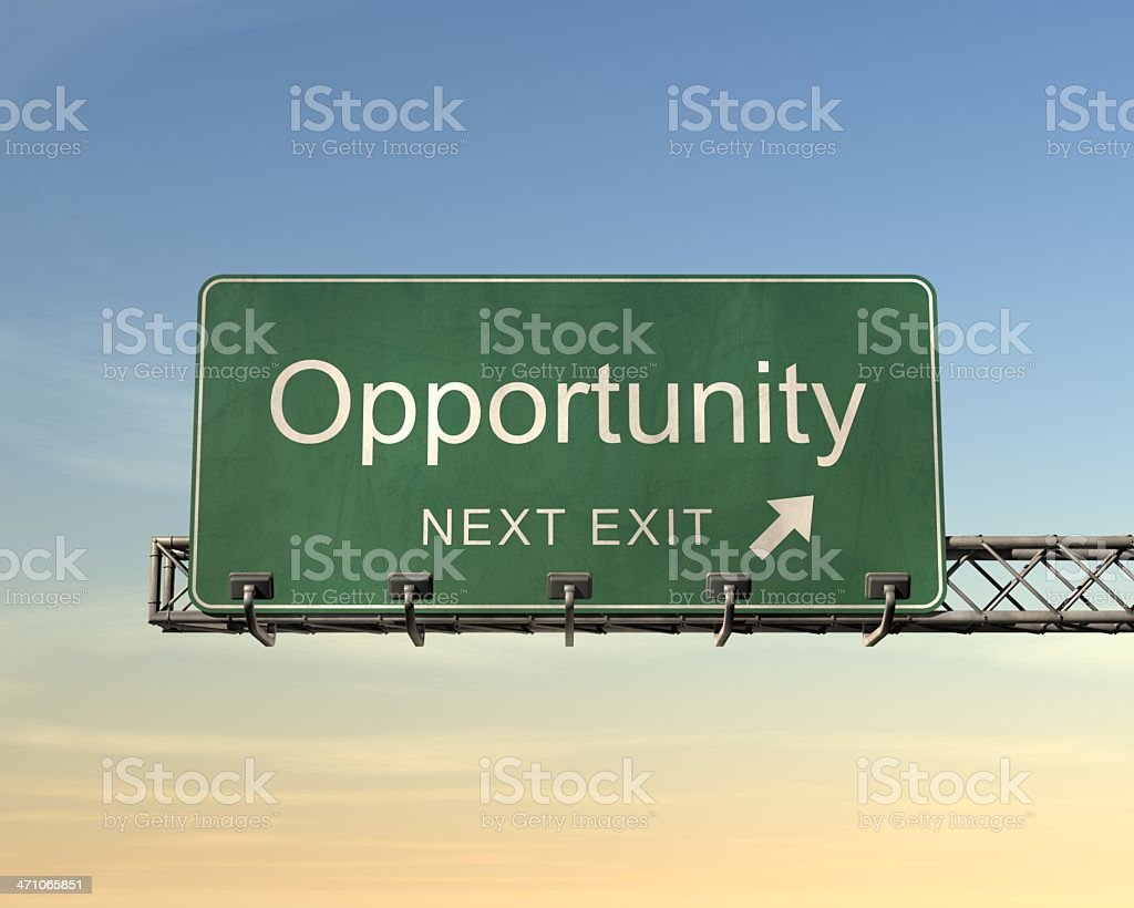 Green highway sign with the words opportunity at next exit royalty-free stock photo