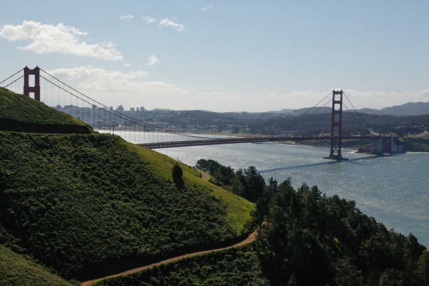 Green hill against Golden Gate Bridge, USA Green hill against Golden Gate Bridge, San Francisco, California, USA san francisco bay stock pictures, royalty-free photos & images