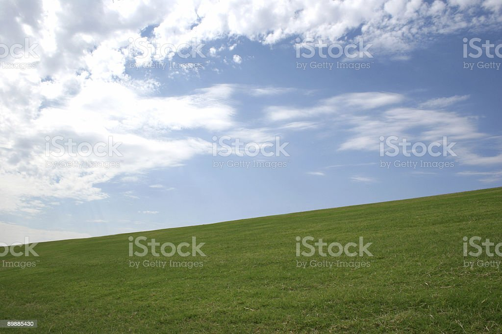 Green Hill and Skyscape royalty-free stock photo