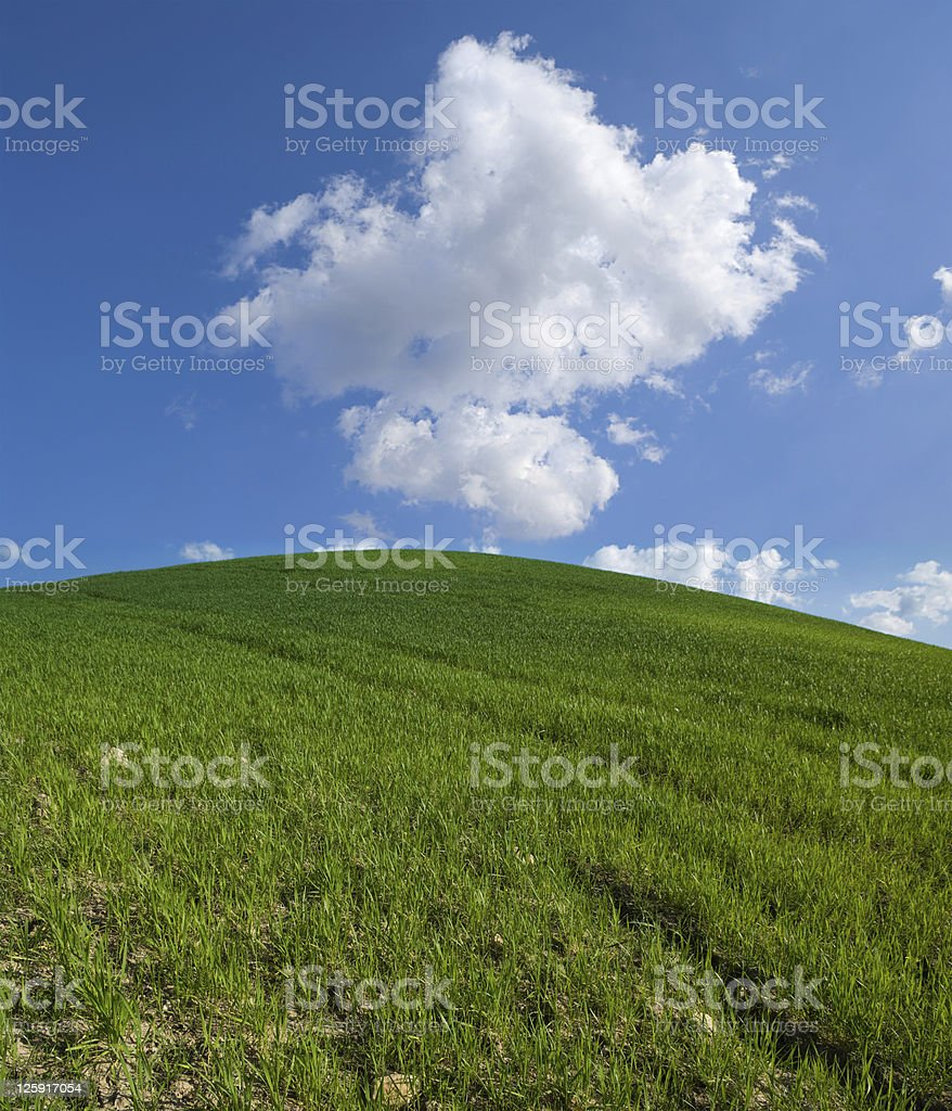 green hill with white clouds stock photo