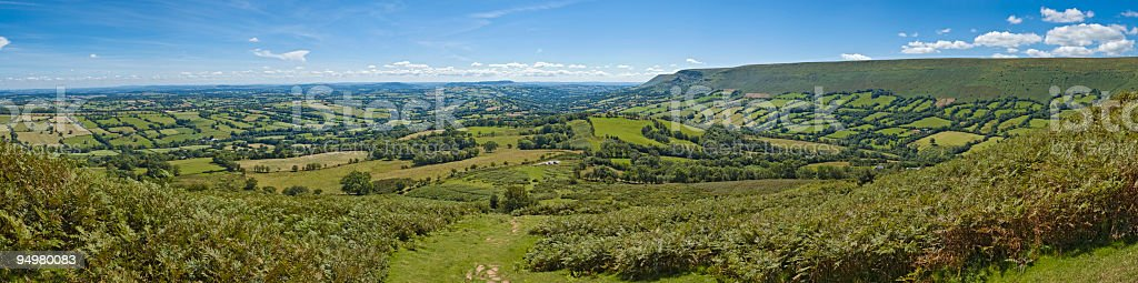 Green hills, farm and vale royalty-free stock photo