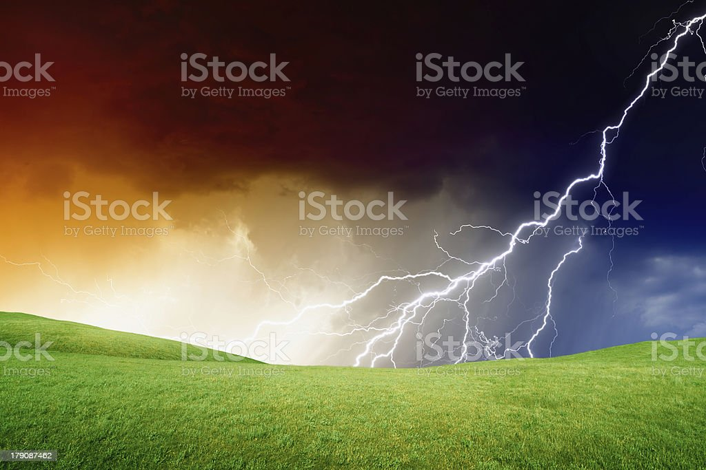 Green hills, stormy sky royalty-free stock photo