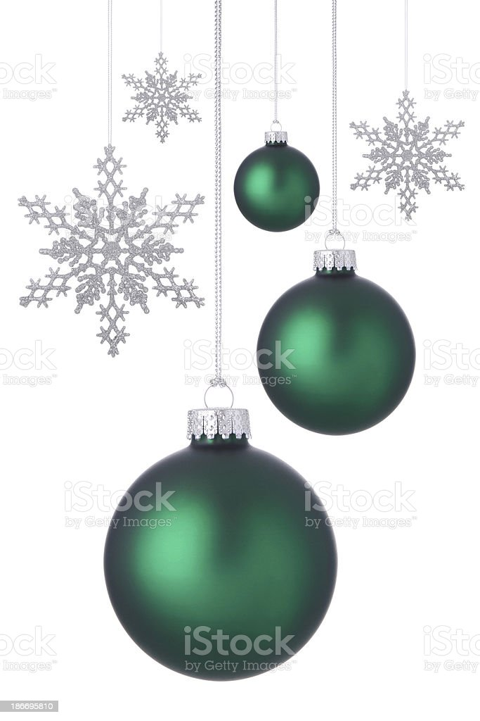 Green Holiday Ornaments royalty-free stock photo