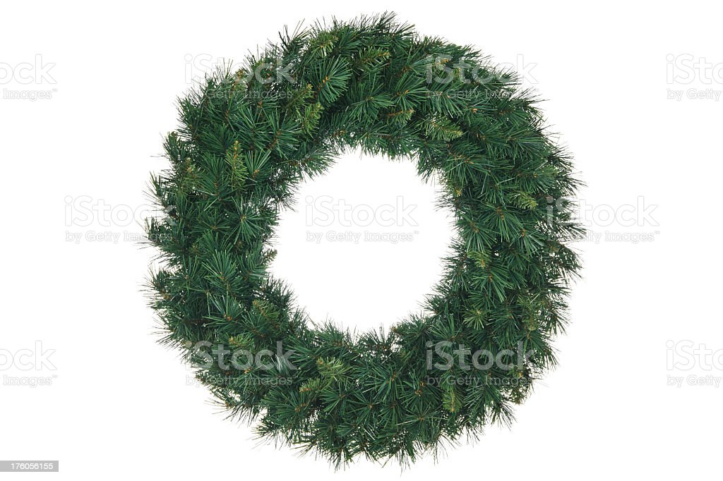 Green holiday wreath on a white background royalty-free stock photo
