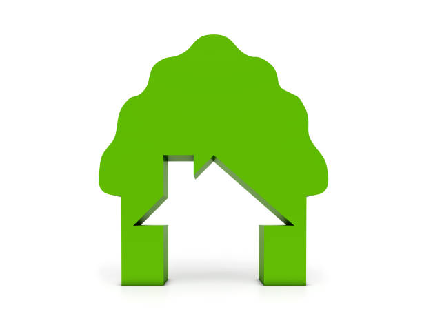 green home in tree - tree logo stock photos and pictures