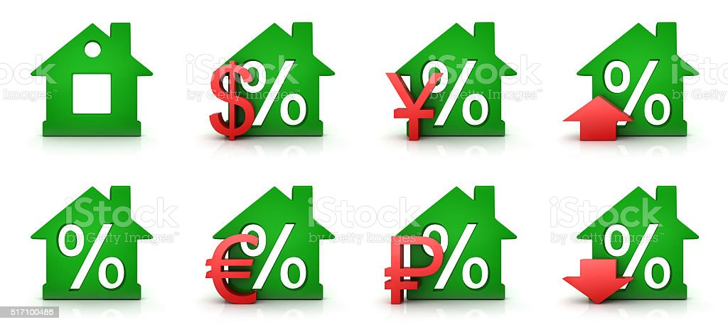 Green home percent stock photo