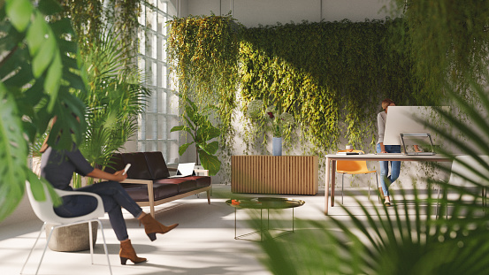 Inside a sustainable green home or home office, all items in the scene are 3D