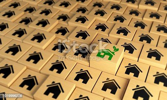 Green Home between the black ones. ( 3d render )