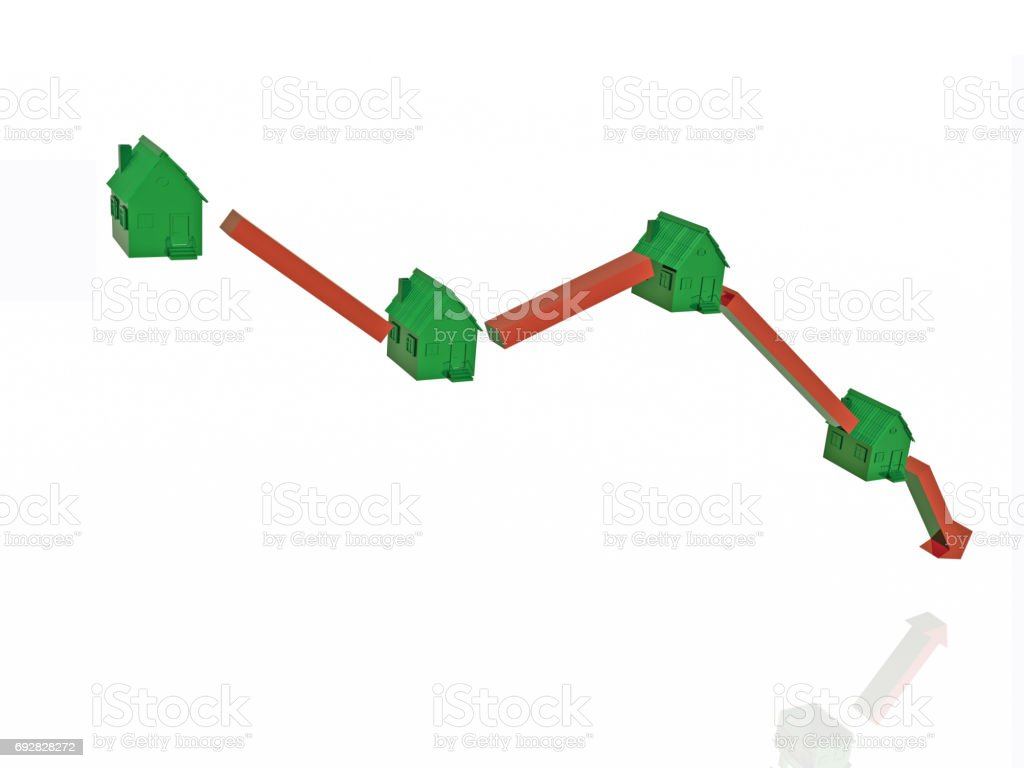 Green homes and arrow stock photo