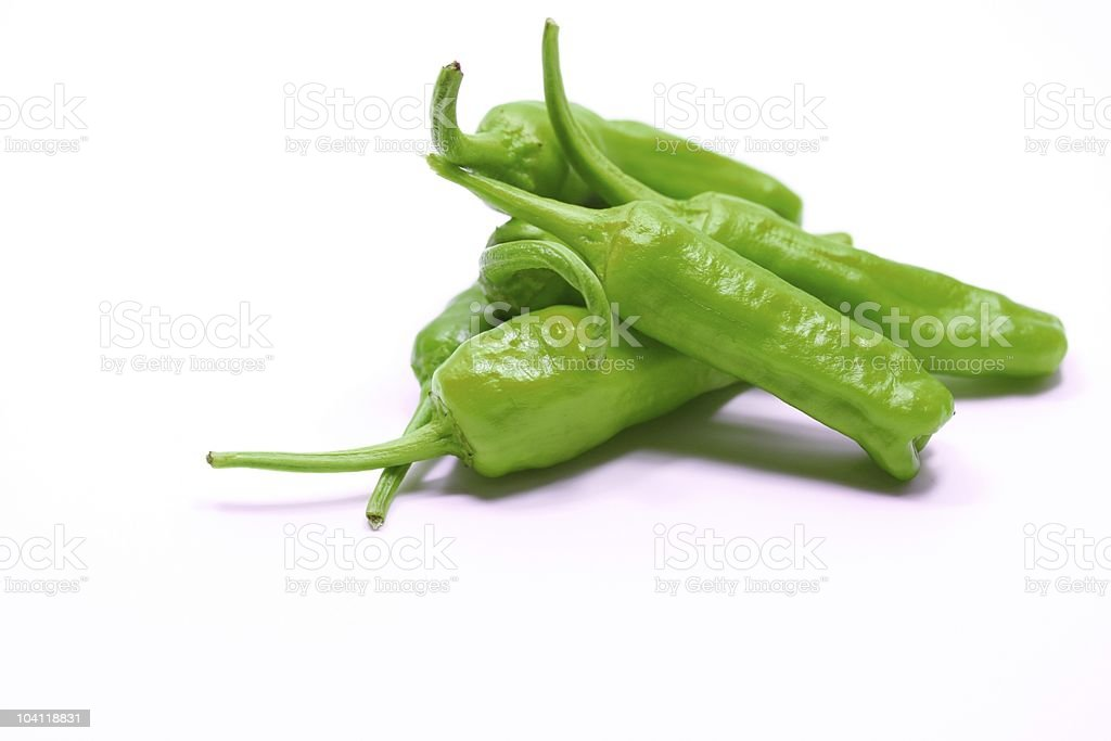 Green hot chili peppers stock photo