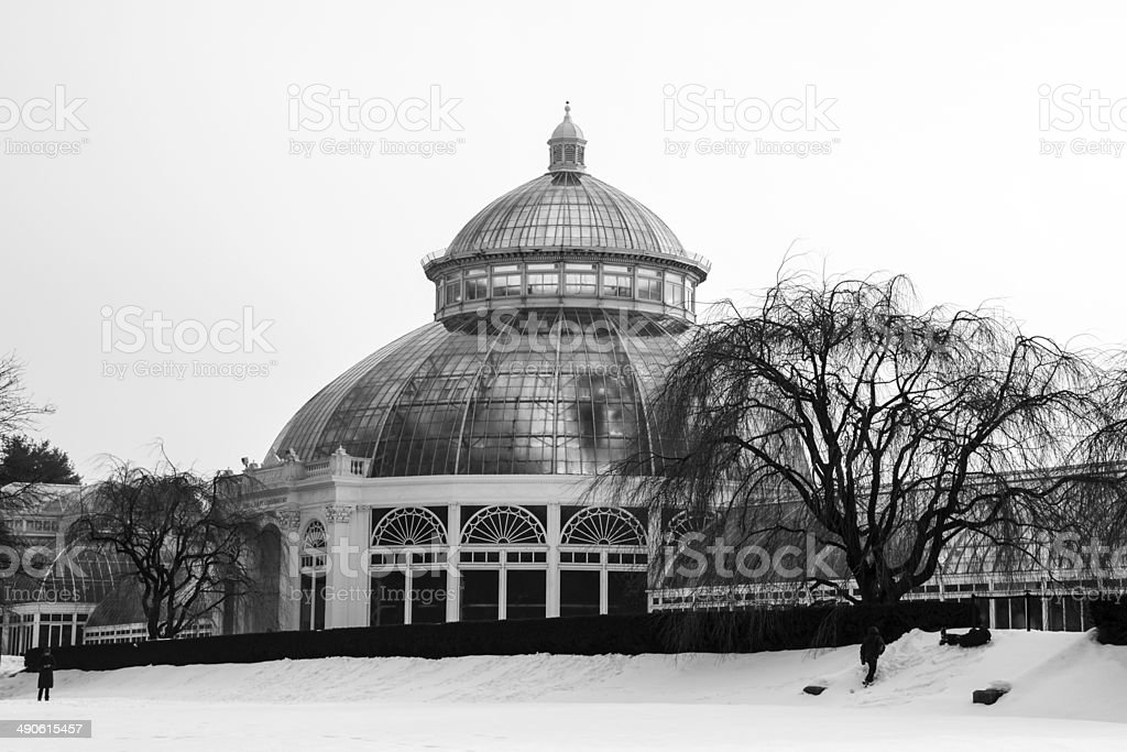 Green House At The New York Botanical Garden In Winter Stock Photo