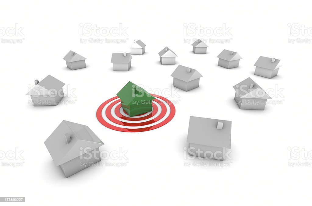 Green House On Target stock photo