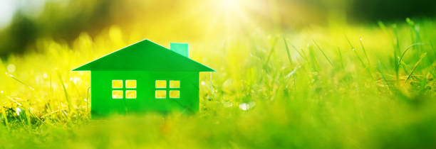 Green house on the fresh grass on a sunny day. stock photo
