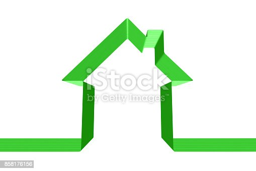istock Green house silhouette made of ribbon isolated 858176156