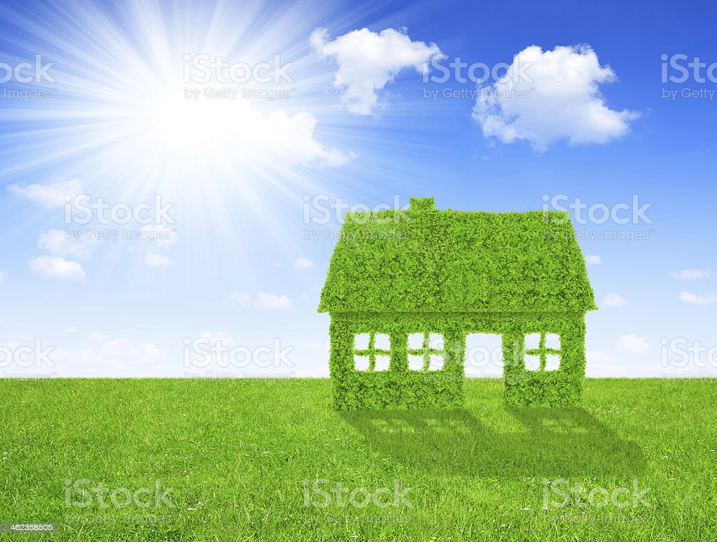 Green house symbol stock photo